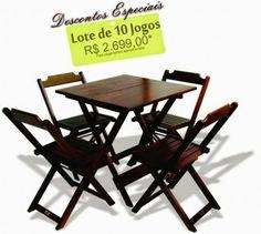 Empório Country Móveis: Jogos de Mesas 70x70 Dobrável com 4 Cadeiras em Ma...
