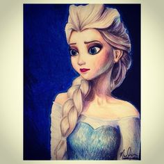 lovemandywang:  Elsa from new disney movie Frozen colored pencil drawing