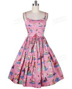 Aliexpress.com: Compre Verão mulheres 50 s Rockabilly Pinup rosa sereia impressão alcinhas de balanço do Vestido Vestido de Festa de confiança as mulheres se vestem modelo fornecedores em Jenny Vintage Fashion