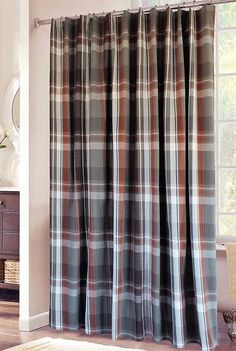 Plaid Shower Curtain in Grey, Rust and White