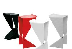 Icon is a minimalist style stool with an origami design which is stackable. The frame is made entirely of aluminium with a painted, non-scratch finish in Black or White and the seat is made of black, recycled leather....