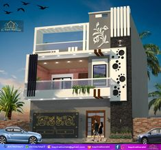 elevation by kT House Arch Design, 3 Storey House Design, Single Floor House Design, Bungalow House Design, Door Design, Modern Exterior House Designs, Bungalow Exterior, Modern House Design, Exterior Design