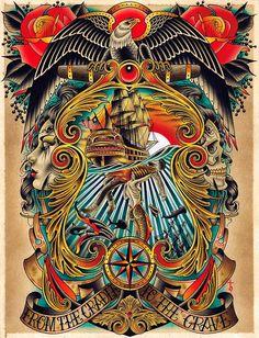 Cradle to the Grave by Tyler Bredeweg Mermaid Tattoo Canvas Art Print