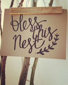 'Bless This Nest'- hand-painted sign, rustic, home decor, art and signs.
