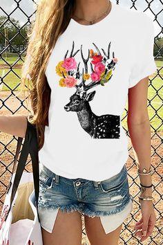 Deer Rose Print Crew Neck Short Sleeves Casual T-shirt - Shopingnova