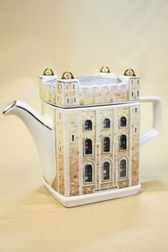Sadler Tower of London teapot, in shape of square stone White Tower with gold highlights, ceramic, made in India/UK
