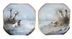 Hunting Dog Hound Pair of Plate - Antique French Paris Porcelain Wall Decorative Plate - Winter Landscape Painting Hunting Game 19th.c