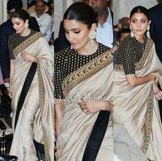 Anushka looks stunning as ever 🖤 Sari Blouse Designs, Saree Blouse Patterns, Indian Dresses, Indian Outfits, Indian Clothes, Indie Mode, Stylish Sarees, Trendy Sarees, Saree Trends