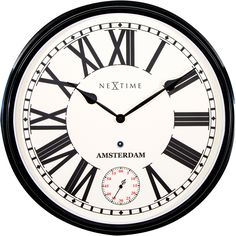 Amsterdam wandklok zwart - NeXtime