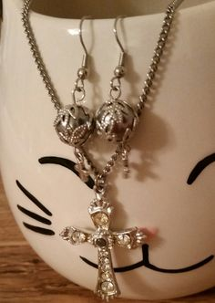 Necklace Earrings Cross Silver Tone Rhinestones by AuntyMyrnesAttic on Etsy