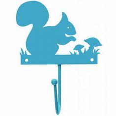 Metalen Kinderkapstokhaakje Eekhoorn Blauw