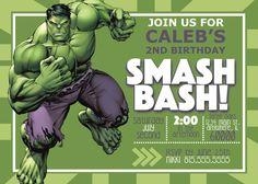 DIGITAL* Incredible Hulk Birthday Invitation by NicolePartyDesigns on Etsy https://www.etsy.com/listing/292907951/digital-incredible-hulk-birthday