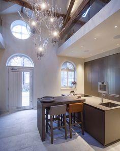 Bulthaup Kitchen in sand beige aluminium- Janey Butler Interiors Dining Area, Kitchen Dining, Butler, Corner Desk, Kitchens, Barn, Cottage, Rooms, Interiors