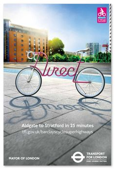 London Cycling Ads Feature Cool Bicycles With Typographic Frames - DesignTAXI.com