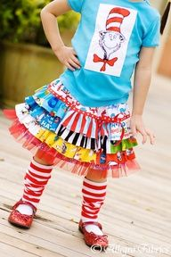 Seuss Cat In The Hat Ruffle Skirt Sewing Kit by AllegroFabrics. I want one for Crazy Sock Day. Adult size please! Funky Outfits, Kids Outfits, Dr Seuss Birthday Party, Ruffle Skirt, Sewing For Kids, Couture, Kids Fashion, Girls Dresses, Dress Up