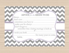 Advice for the Bride to Be Bridal Shower by PaperTreePrintables, $5.00