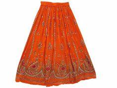 Amazon.com: Dcrapechic Skirt Orange Lehnga Skirts All Over Hand Beaded Maxi Skirt: Clothing
