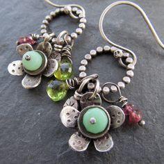Wire Wrapped Silver Hoop Earrings Flower Charm Cluster by artdi