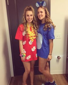 Get inspiring Best friends Halloween costumes ideas for two people that will make your duo steal the show. Get the BFF Halloween Costume ideas right here. Stitch Halloween Costume, Lilo And Stitch Costume, Two People Halloween Costumes, Cute Costumes, Costume Ideas, Group Costumes, Best Friend Halloween Costumes, Halloween Outfits, Hawaian Party