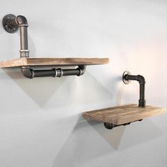 DIY Industrial Pipe Shelves Featuring a set of urban rustic floating pipe shelf that is perfect for homes, offices and cafe interiors. Made from quality metal pipe and solid timber, the pipe shelves can be mounted freely to sui. Diy Pipe Shelves, Industrial Pipe Shelves, Floating Wall Shelves, Rustic Industrial, Display Shelves, Urban Rustic, Pipe Shelving, Industrial Office, Book Shelves