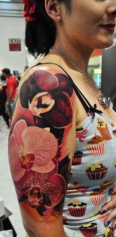 Orchids, arm piece done by Pepa at Bohemian Tattoo Arts. NZL Tattoo Scene. #tattoo #tattoos #ink