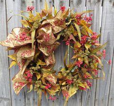 Fall Wreath  Fall / Autumn Wreath  Fall Wreath in by HornsHandmade, $73.00