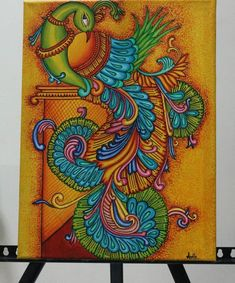 Peacock Painting, Peacock Art, Fabric Painting, Peacock Drawing, Kalamkari Painting, Tanjore Painting, Kerala Mural Painting, Indian Art Paintings, Composition Painting