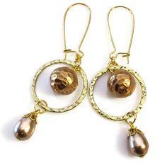 Bronze Earrings, Bronze Pearl, Fun Dangle Earrings