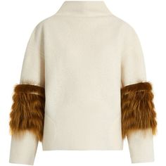 Saks Potts Vein fox-fur panel wool sweater ($525) ❤ liked on Polyvore featuring tops, sweaters, white multi, backless tops, wool tops, fuzzy sweater, wool sweaters and drop shoulder tops