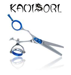 Kamisori Lefty Revolver Thinning Shears  Ergonomic double swivel thumb rings to bring a new level of comfort. Protects against Carpal Tunnel syndrome. Finished in a attractive silver and blue design.