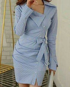 Amazing blue shirt dress design, love it so much - LadyStyle - striped dress summer outfits summer dress outfit blue summer dress outfit blue summer dress outfit outfits baby blue dress - blue dress outfit - Summer Blue Dresses 2019 Trend Fashion, Look Fashion, Womens Fashion, Fashion Design, Fashion 2020, Dress Outfits, Fashion Dresses, Casual Dresses, Blue Shirt Dress