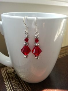 Siam Crystal Earrings, Swarovski, Red, Dark Siam, Elegant Earrings, Statement Earrings, Dark Red Earrings, Prom Earrings, Simple Earrings by CrystallureDesigns on Etsy