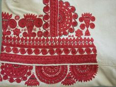 Detail: embroidered blouse of the folk costume from Kurpie Białe (White Forest area in the Kurpie region), Poland.