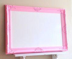 Framed Whiteboard Dry Erase Board Pink Magnetic Bulletin Board Girls Room 26x36 Wall Decor Desk Organizer Unique Teenager Gift Memo Board by ShugabeeLane on Etsy https://www.etsy.com/listing/193682204/framed-whiteboard-dry-erase-board-pink