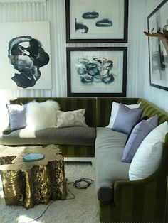 i am in love with the monochrome-striped couch and the coffee table tree1