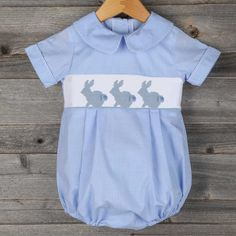 Easter 2015 $35 Smocked Bunny Boy Bubble Blue Gingham