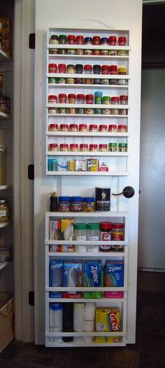 Step by step tutorial for how to make this custom DIY pantry door spice rack and storage unit, and how to mount it to a hollow core door. Basic carpentry skills are all that is needed! (organization ideas for pantry) Pantry Storage, Kitchen Organization, Organization Hacks, Kitchen Storage, Food Storage, Storage Ideas, Pantry Diy, Diy Storage, Spice Rack Pantry Door