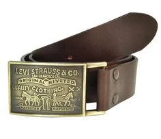 Leather Bridle Belt with Removable Plaque Buckle by Levi's. Snap in buckle can be removed and replaced