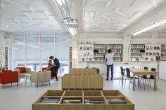 Alliance Française Dublin - GKMP Architects Dublin, Ceiling Decor, Reception Areas, Ground Floor, Architects, Flooring, Building, Table, Room