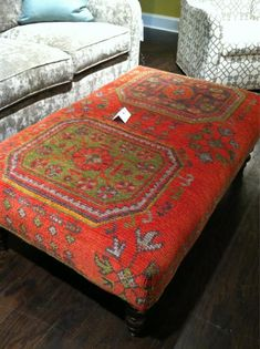 Loving these kilim rug-covered ottomans at @CR Laine Furniture. #hpmkt via @HGTV & @Shelley Holmes