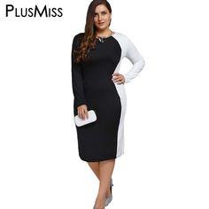 Plus Size Long Sleeve Sheath Elegant White Black Midi Dress