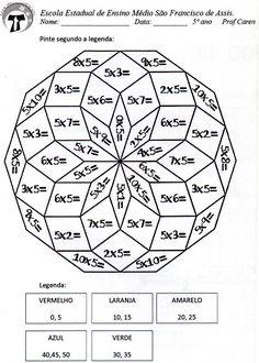 Pinte a mandala com os resultados da multiplicação do 5 - actiludis