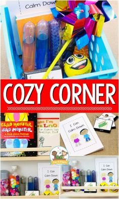 How to set up a cozy corner in your preschool, pre-k, or kindergarten classroom. A place where young children can feel safe and regain control of emotions. Science Center Preschool, Preschool Classroom Setup, Space Preschool, Classroom Routines, Classroom Management Tips, Preschool Curriculum, Kids Learning Activities, Classroom Meeting, Preschool Behavior
