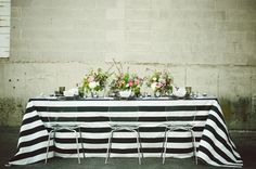 Edgy Black And Blush Pink Alternative Wedding Inspiration - Weddingomania Edgy Wedding, Wedding Trends, Wedding Styles, Wedding Ideas, Alternative Wedding Inspiration, Striped Table, Wedding Table Settings, Green Wedding Shoes, Industrial Wedding
