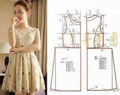 Vestido fácil de costurar, estas medidas correspondem ao tamanho S (36). Faça uma boa escolha de tecido para que o resultado final seja de excelência.Este