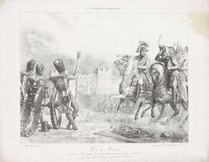 François Grenier | Inname van Menin, 1793, François Grenier, C. de Last, 1818 | De Franse troepen onder generaal Joseph Souhame trekken door de poort de stad Menin in, 25 oktober 1793. Op de voorgrond rechts de generaal met zijn stadfofficieren te paard, links een stuk geschut op de stad gericht.