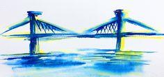 Manhattan Bridge 15x30 cm - Série New York - 2017- new york city, aquarelle, watercolor