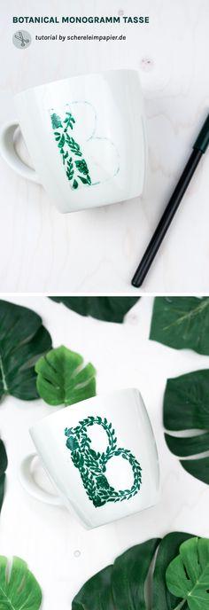 DIY Muttertagsgeschenk basteln: Tasse bemalen / Tasse gestalten mit floralem Monogramm | Porzellan bemalen |Tasse mit Buchstabe | DIY Geschenk | Geschenkidee zum selber machen | Blumen DIY | romantisch verspielt | Anleitung von schereleimpapier.de
