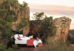 Romantic open air sleep-out at the Kagga Kamma Game Reserve in Cape Town. You even have an open-air bathroom! Air Bed And Breakfast, Cave Hotel, Le Cap, Open Air, Private Games, Sleeping Under The Stars, Holiday Resort, Thing 1, Game Reserve