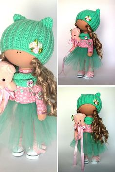 Rag doll Fabric doll Summer doll handmade green color Soft doll Cloth doll Baby…